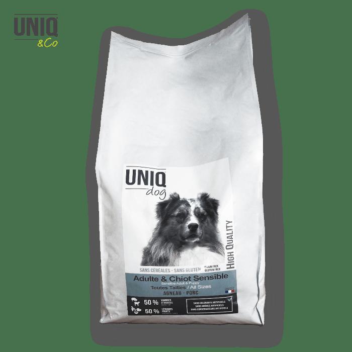 Croquettes sans céréales UNIQ Dog pour les chiens chiots sensibles de toutes tailles.  - sac de 12 kg