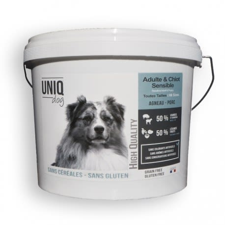 Croquettes adulte & chiot sensible sans céréales UNIQ Dog - Toutes tailles - seau 4 kg