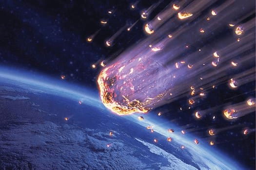 image of burning rocks falling from sky