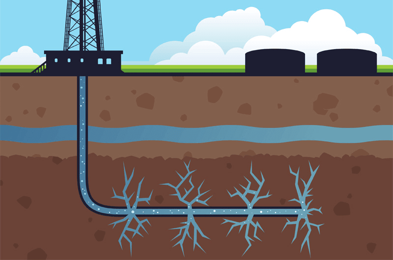 Infographic of extracting natural gas from earth