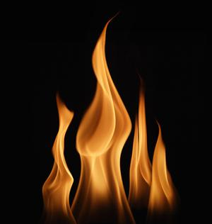burning fire with black background