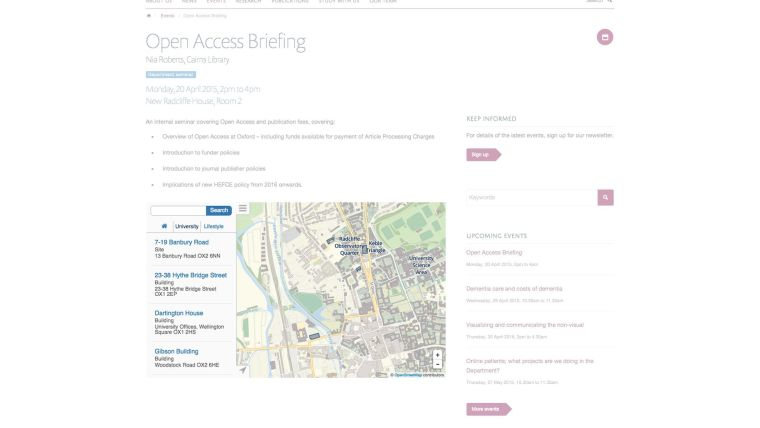 Integration with maps.ox.ac.uk