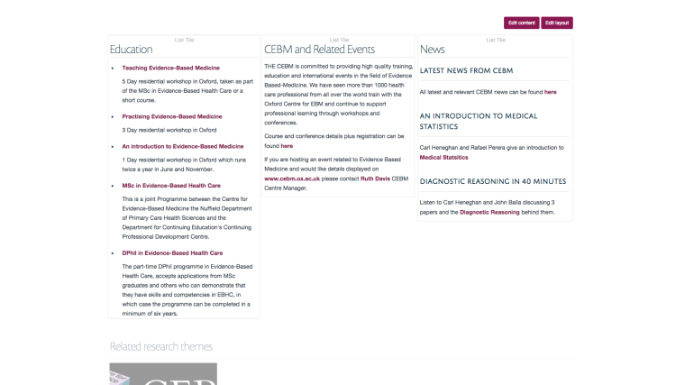 Multi column layout on research groups