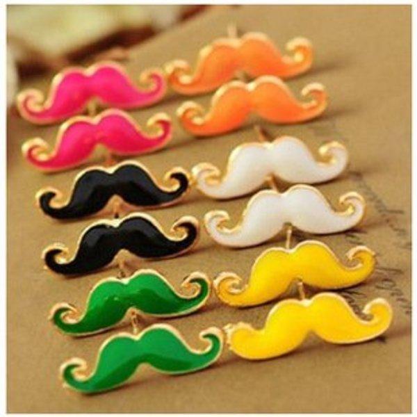 Colourful Moustache Earrings