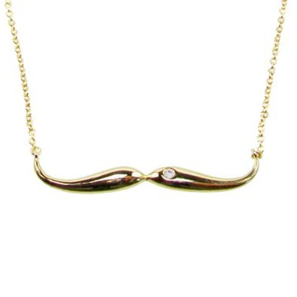 Gold Plated Moustache Necklace