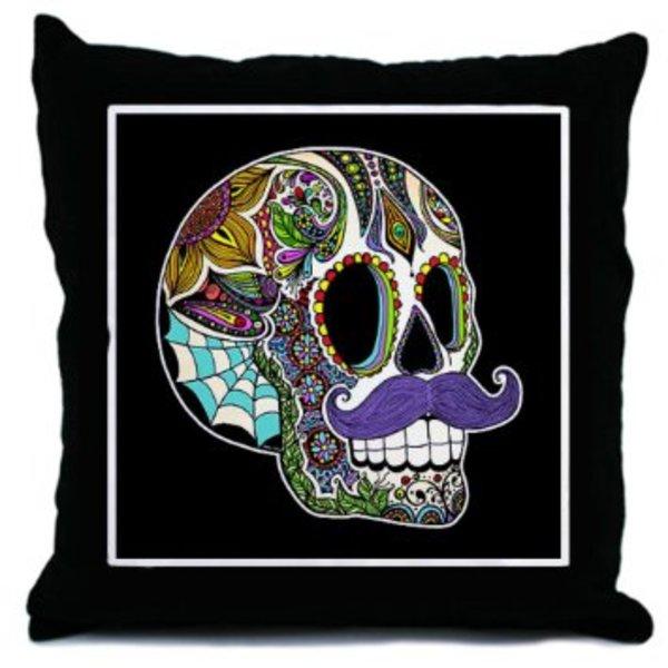 Moustache Skull Pillow