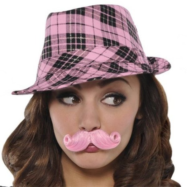 Hot Pink Fake Moustache