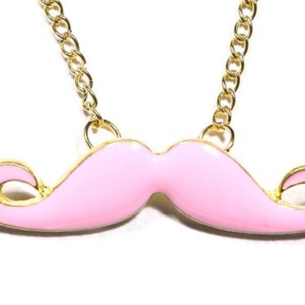 Pink Moustache Necklace