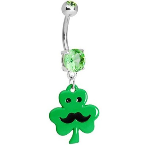 Shamrock Moustache Belly Ring