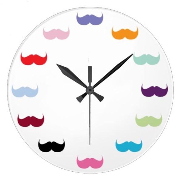 Colourful Moustache Clock
