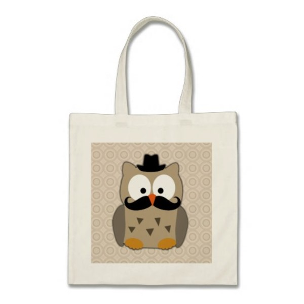 Owl Moustache Bag