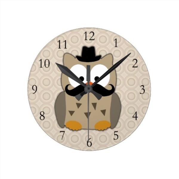 Owl Moustache Clock