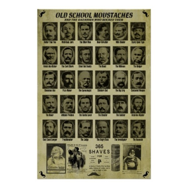 Old School Moustaches Poster
