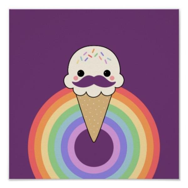 Moustache Icecream Poster