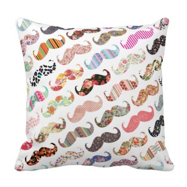 Colourful Moustache Pillow