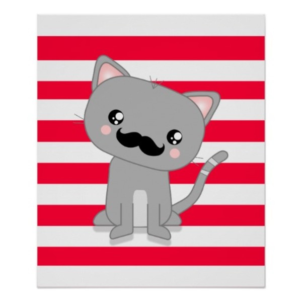 Cute Kitty Moustache Poster
