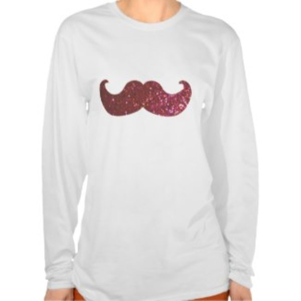 White Longsleeve Moustache Shirt