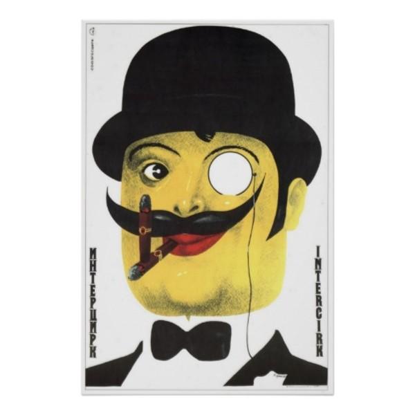 Communist Moustache Propaganda Poster