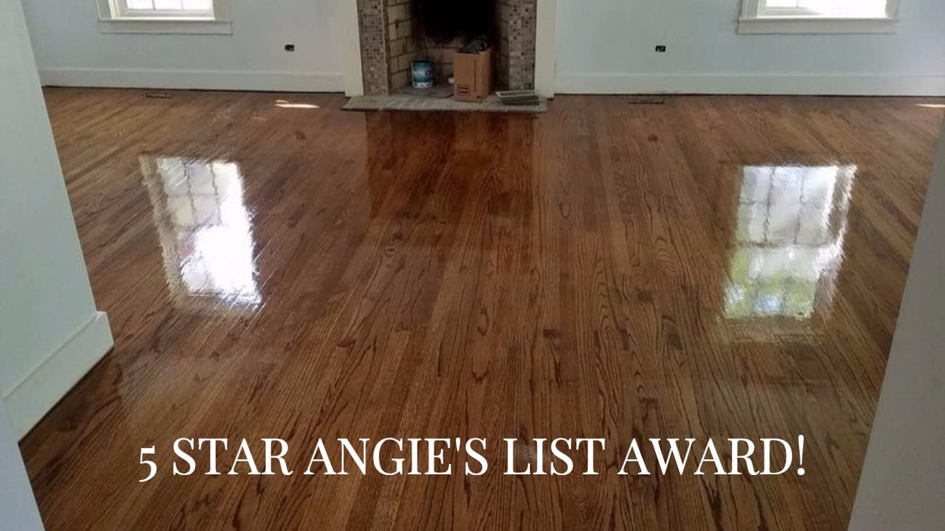 Image showing a moderately stained floor, also informing that Wilson's has a five star Angie's list rating
