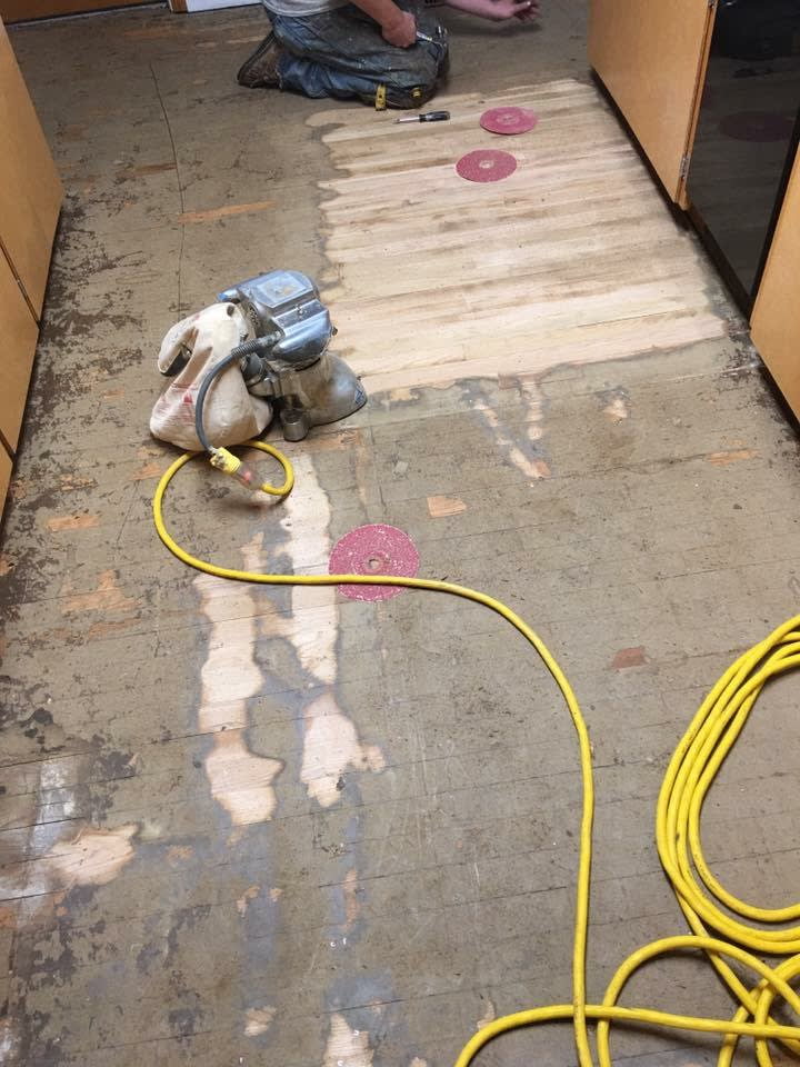 Image showing a hardwood floor sanded down with no stain