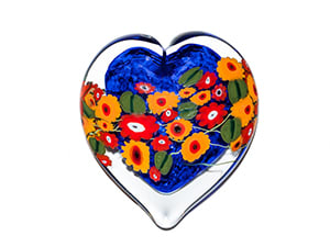 California Poppies on Blue Heart
