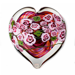 Pink Roses on Ruby Heart