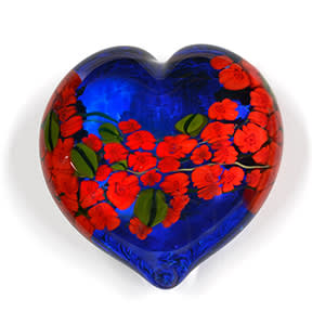 Red Roses on Blue Heart