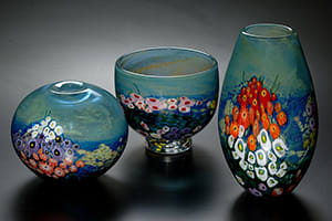 Landscape Series Opal Vases and Bowl
