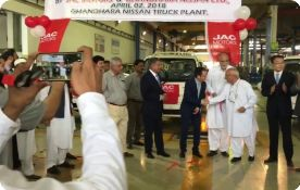 Roll off Ceremony of locally assembled JAC X200 pickup in Pakistan