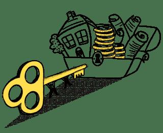 key unlocking chest of assets