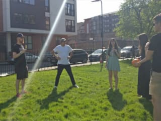 The product team doing a retro in the park