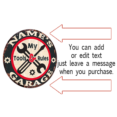 CGTR-0072 WAYNE/'S Garage Tools Rules Chic Tin Sign Man Cave Decor Gift