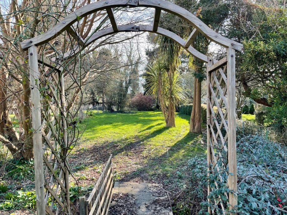 Garden - bridge leading to access to National Trust fields