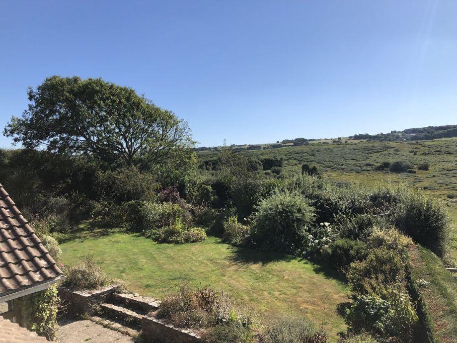Rear garden and views over Corfe Common