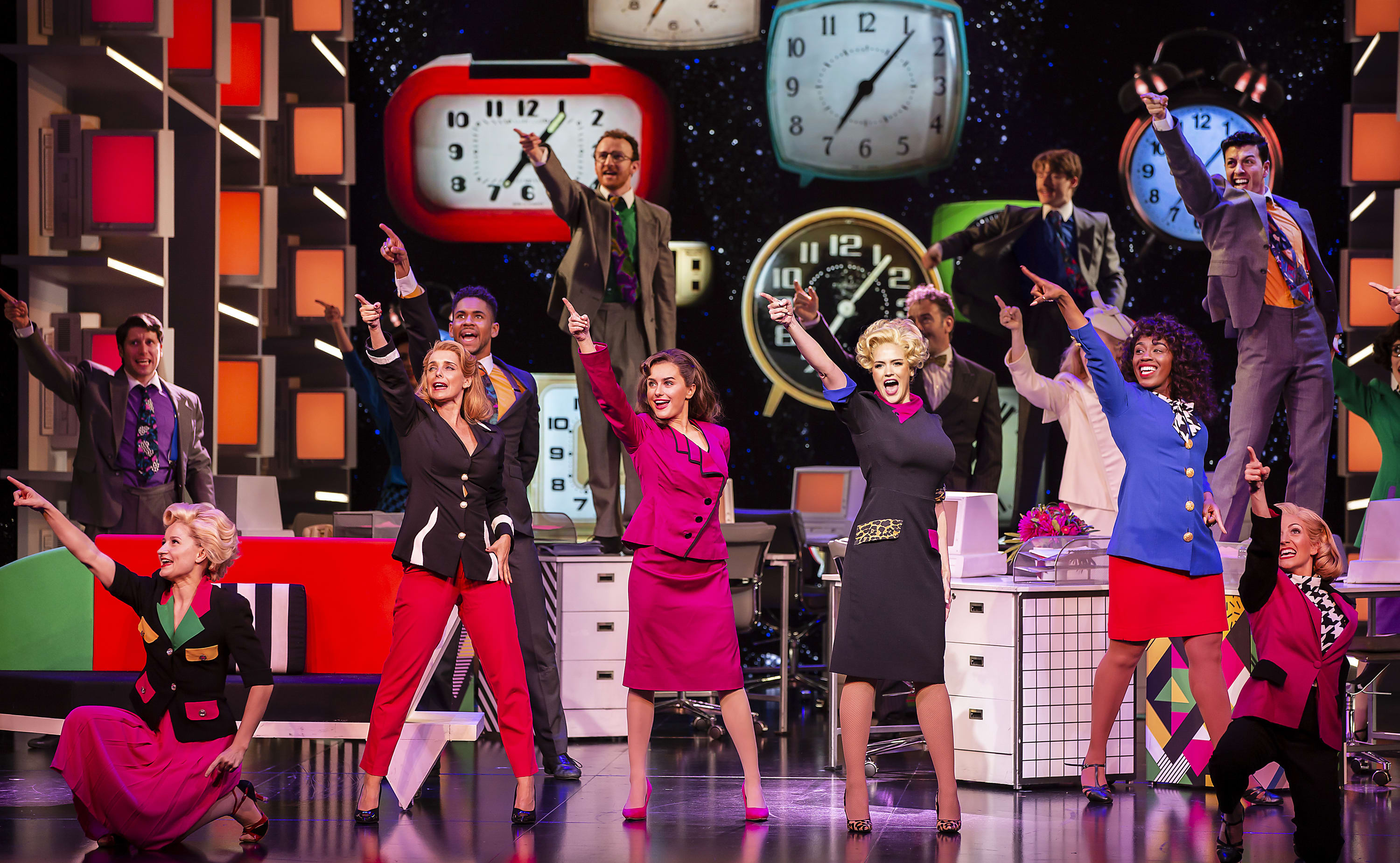 9 to 5 the Musical (Louise Redknapp, Brian Conley and Amber Davies) Prod Shot
