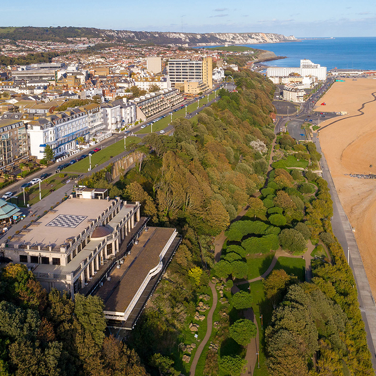 This is Leas Cliff Hall Theatre, Folkestone - external.