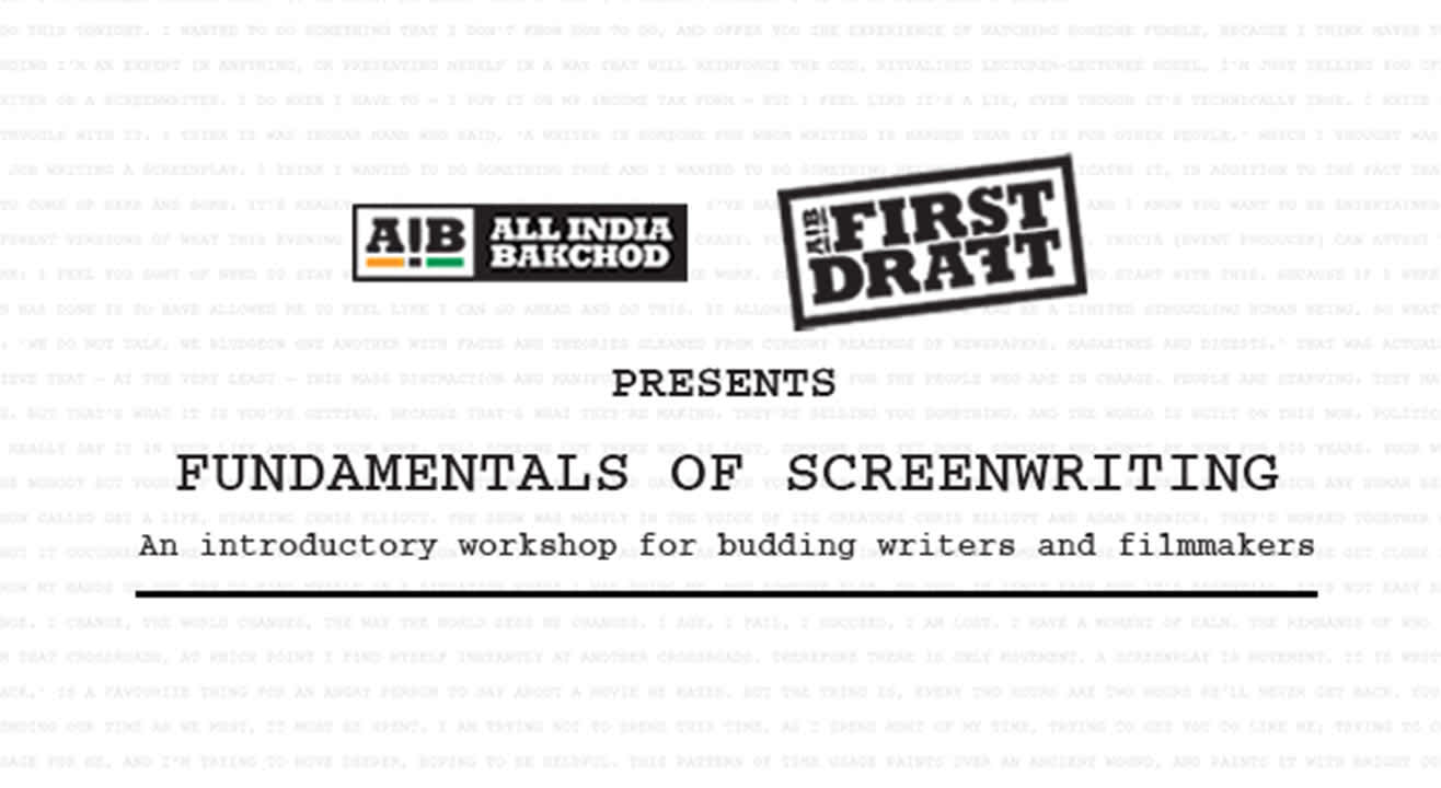 AIB First Draft: Fundamentals of Screenwriting, Hyderabad