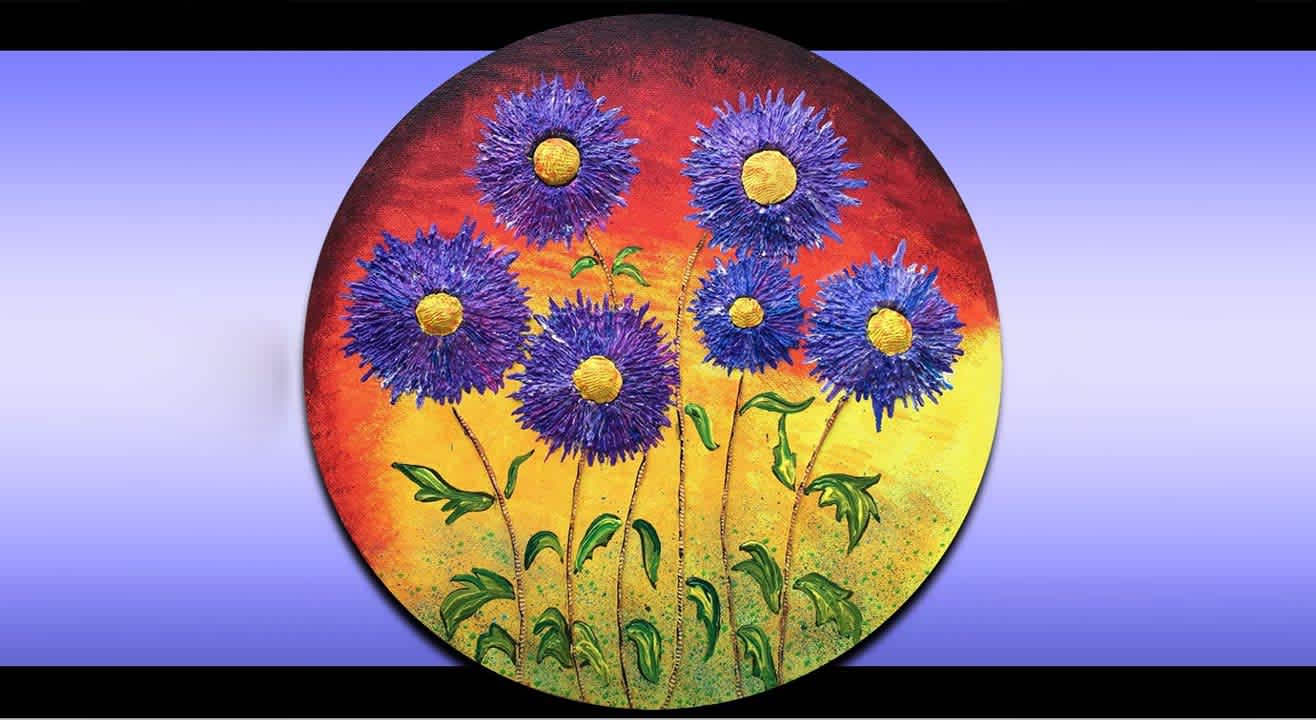 Floral bloom on Circular Canvas