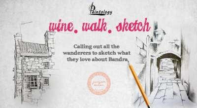 Wine, Walk, Sketch - by Paintology
