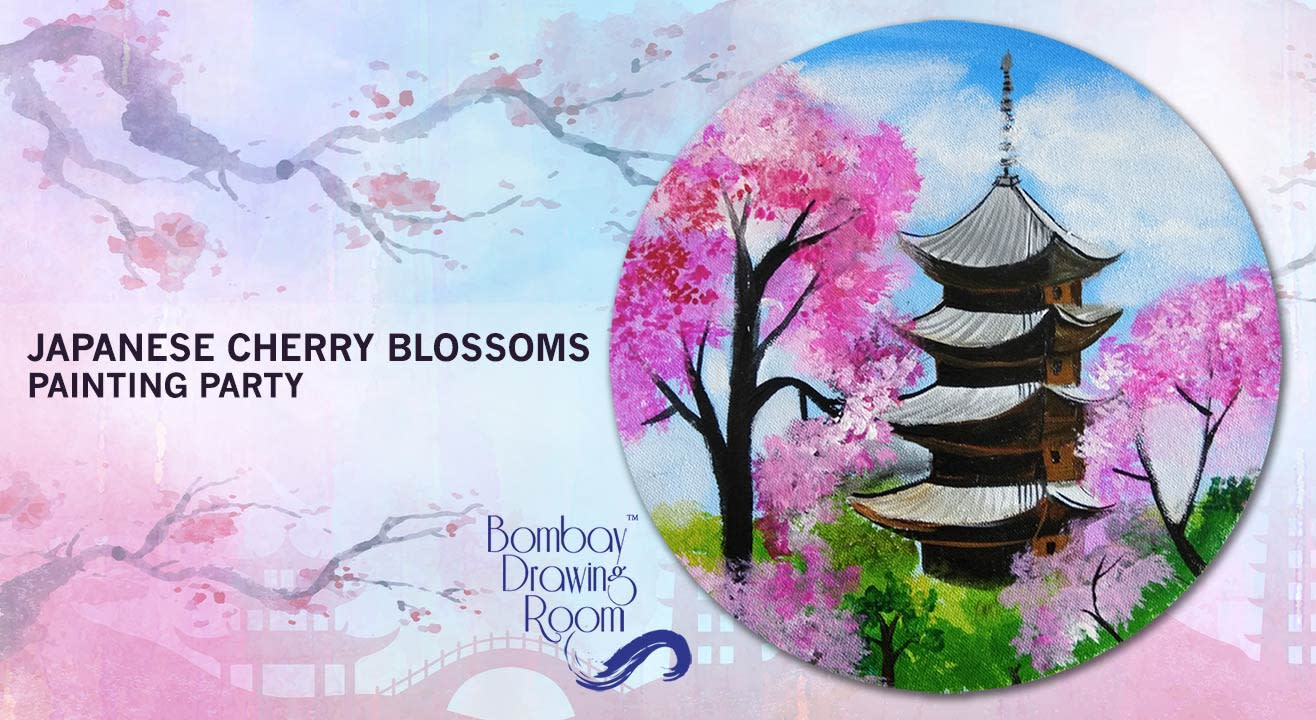 Japanese Cherry Blossoms - Circular Canvas Painting Workshop