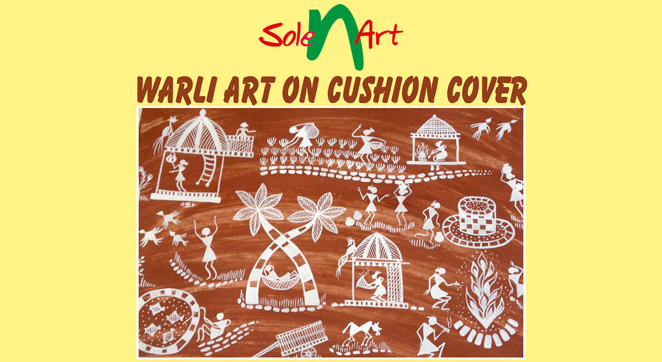 Warli Art on Cushion Cover