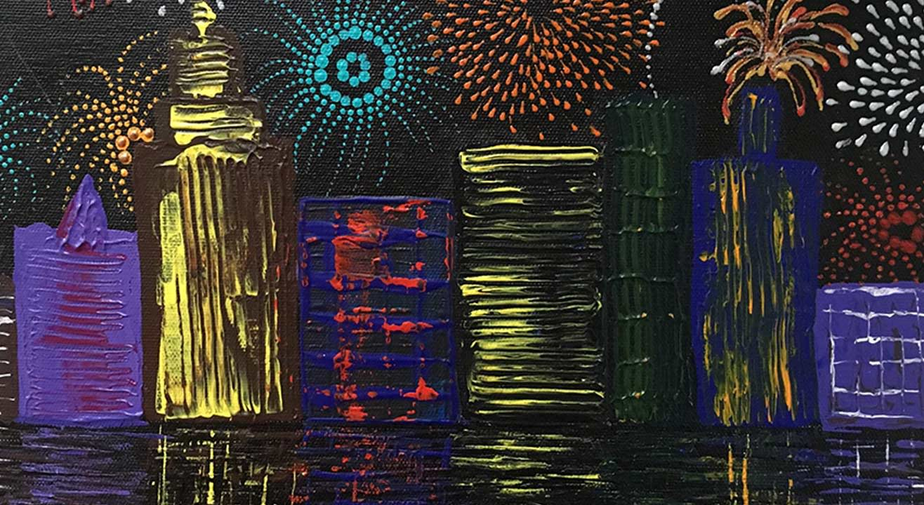 Knife Painting party- New Year's Celebration Cityscape