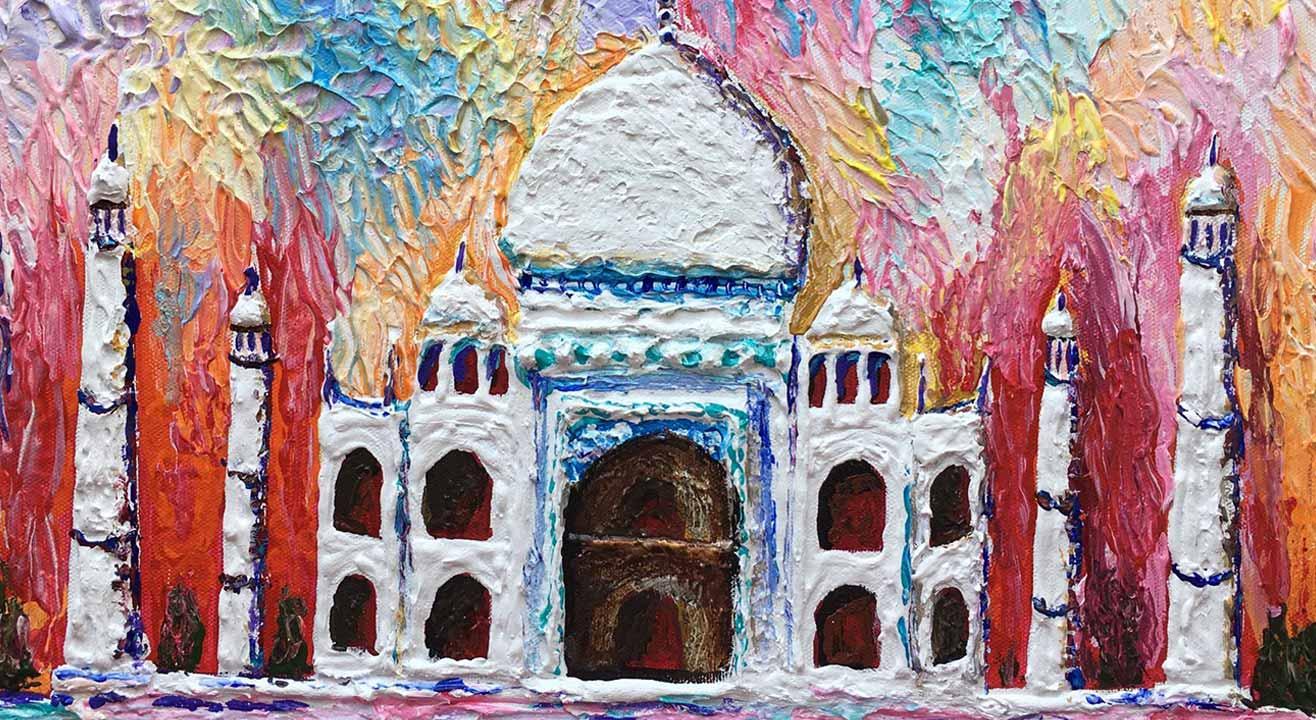 Palette Knife painting - The majestic Taj Mahal
