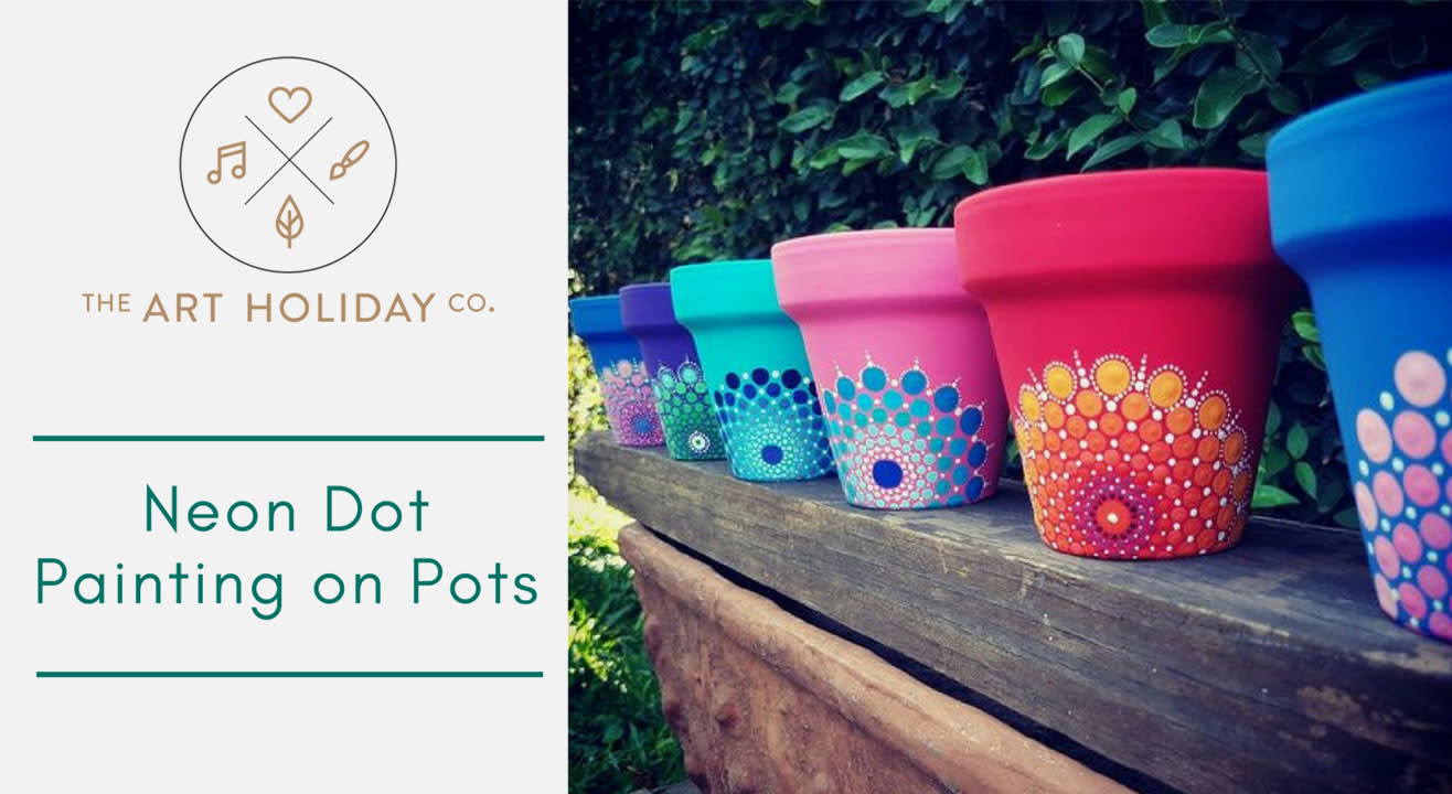 Neon Dot Painting on Pots