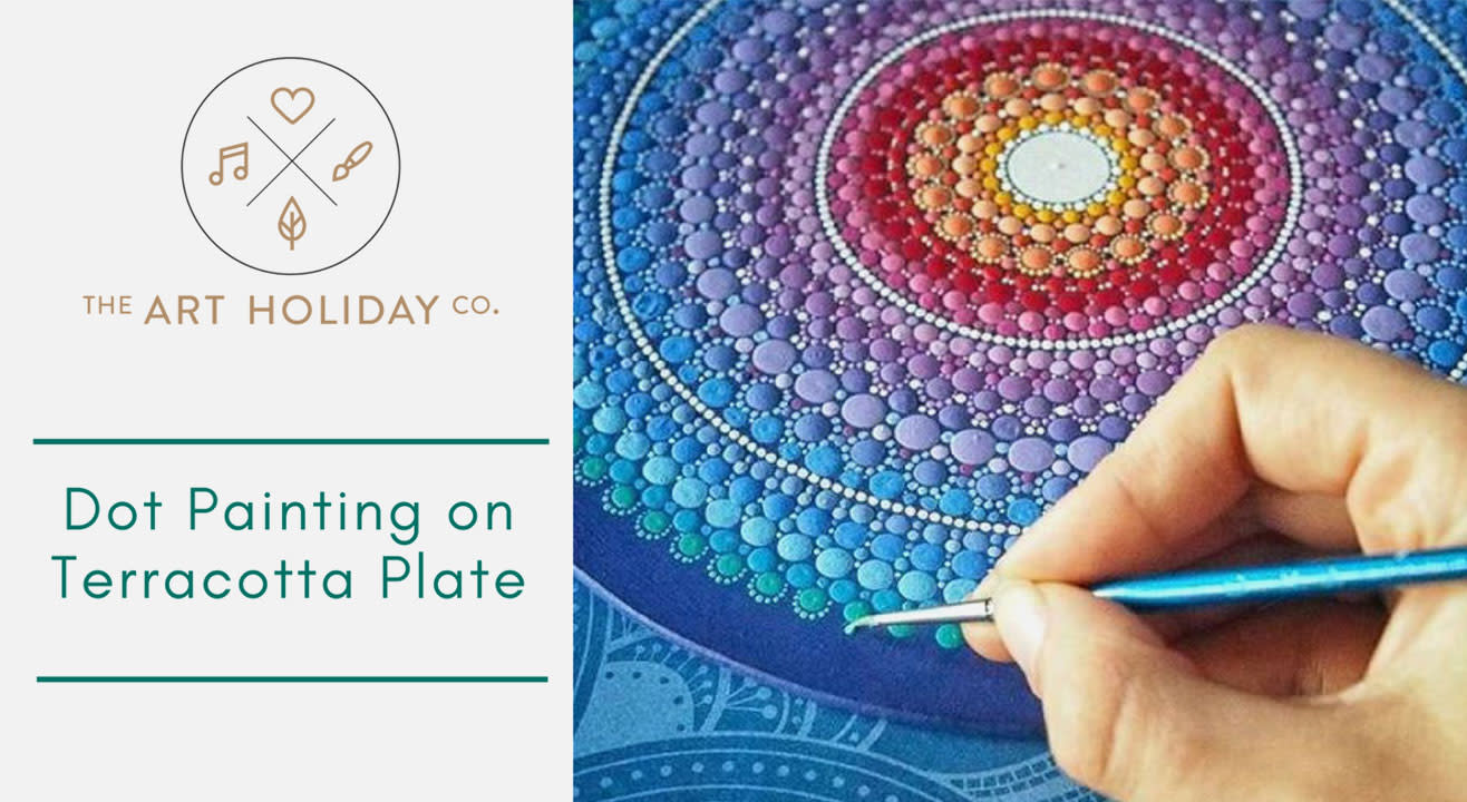 Neon Dot Painting on Terracotta Plates