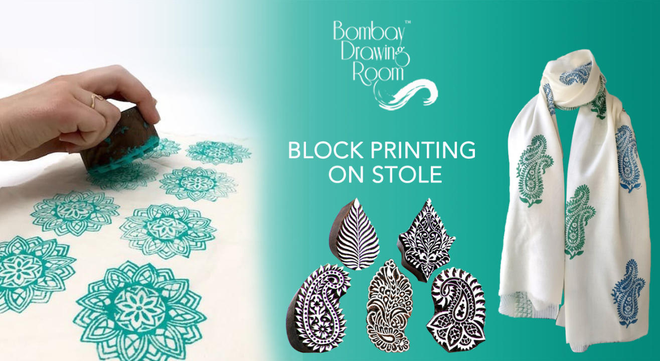 Block Printing on Stole by Bombay Drawing Room