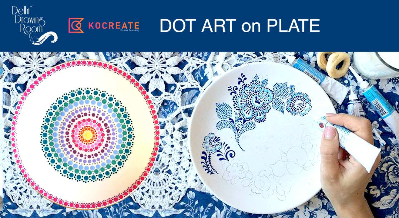 Dot Art on Plate- Painting Party by Delhi Drawing Room