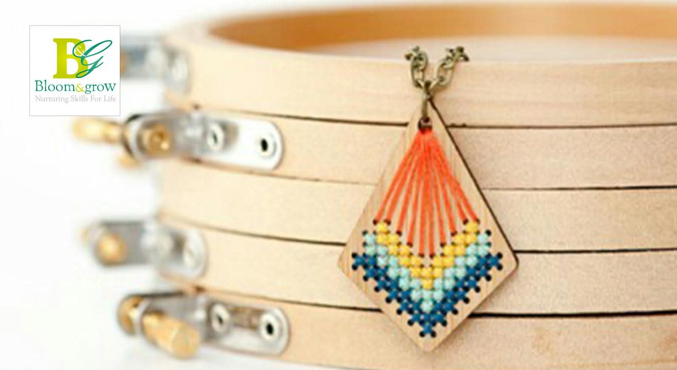 Embroidered Wooden Pendant DIY Workshop