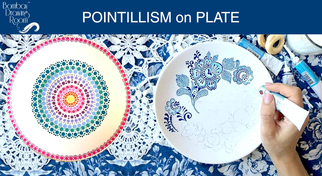 Pointillism on Plate - Painting Party by Bombay Drawing Room