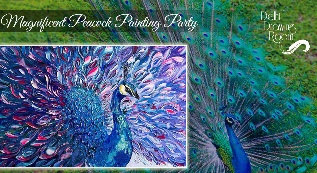 Magnificent Peacock Painting Party by Delhi Drawing Room